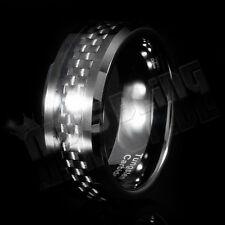 8MM Black Carbon Fiber Tungsten Carbide Inlay Wedding Band Bridal MEN Ring