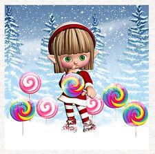 Santa's Elf, le Lolly Pop, Chut, Qualité Tissu Quilting   à coudre   Craft Panel