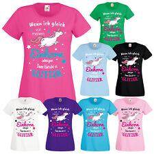 EINHORN Damen Mädchen T-Shirt Einhorn Glitzer mit Unicorn Motiv Spruch Fun