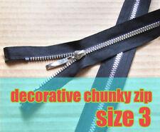 Black Chunky Zip Open End Zip No 3 Plastic Zipper Decorative Zip length 65cm