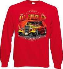 Sweatshirt in rot mit einem Hot Rod-,US Car & `50 Stylemotiv Modell All Fired Up