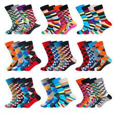 5 Pairs Mens Cotton Socks Chromatic Stripe Grid Fancy Casual Dress Socks Wedding