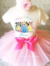 Pink Princess Group Belle Princess Girl 4th Birthday Tutu Outfit Shirt Set Party