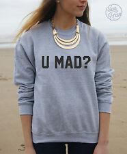 * U pazzo? Maglione Pullover Felpa lei BRO divertente slogan SWAG Fresh Hipster *