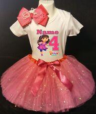 Dora the Explorer --With NAME-- 4th Birthday Dress shirt 2pc Fuchsia Tutu outfit