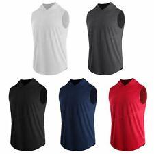 Men Casual Loose Hooded Cap T-Shirt Sleeveless Hoodie Tank Tops Vest Sweatshirt