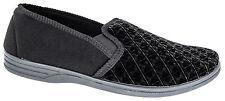 Mens Slip On Slippers / Black Velour Comfortable Zedzzz Sizes 7 to 16