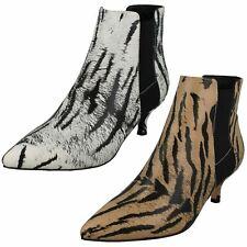 Ladies F5R1118 Pull On Kitten Heel Animal Print Ankle Boot By Spot On £29.99