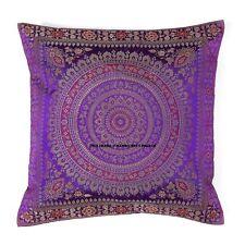 "Mandala Cushion Cover 17"" x 17"" Brocade Pillow Sofa Throw Indian Bohemian Decor"