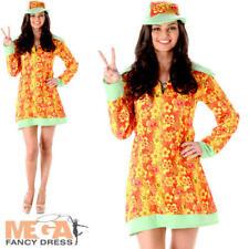 Groovy Girl Ladies Fancy Dress Hippie 60s 70s Hippy Womens Adults 1960s Costume