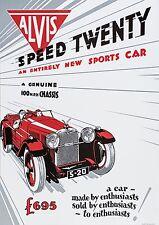 ALVIS velocità VENTI Auto Poster Immagine Stampa 100 MPH TELAIO A1 A3