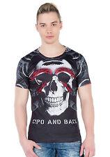 Cipo&Baxx Hombres Jóvenes Party Camiseta ct279 Calavera Negro Cuello Redondo