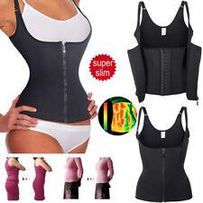 Women Underbust Corset Waist Trainer Sauna Sweat Body Shaper Vest With Zipper UK