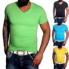 tiefer V-Ausschnitt Uni Basic Herren Kurzarm Slim Fit Deep V-Neck T-Shirt V-66
