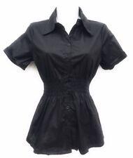 Women's Short Sleeve Button-Down Princess Cut Smock waist premium Stretch