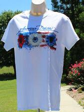 T-shirt Patriotic American Daisies Flag Flower White NWT