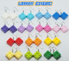 LEGO Dangle Brick Earrings - White Blue Purple Pink Red Yellow Green - FREE POST