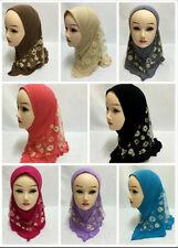 Muslim Children Kids 2 Layer Girls Islamic Scarf Arab Shawls Hijab For 1-8 Years