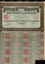 MINING MEXICO Comp Miniere de Santiago y  Anexas 1925 100FR uncancelled div coup