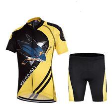 Children Cycling Kit Bicycle Shirt Jersey & Bike Padded Shorts Set Black-Yellow