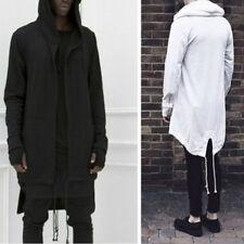 Mens hooded jacket long cardigan ninja goth gothic punk black white Sweatshirt