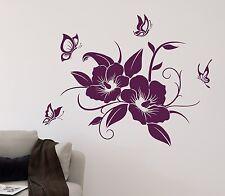 Wandtattoo HIBISKUS + Schmetterlinge Blüte Blume Ranke Schmetterling Aufkleber