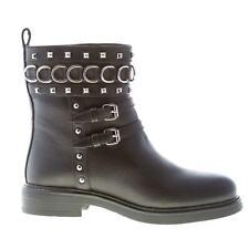 LOVE MOSCHINO scarpe donna Stivaletto pelle stampa bufalo nero con borchie