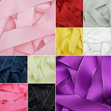 Doble cara cinta de raso plateado bordes en 10 Colores 6mm 10mm 15mm 22mm 38mm