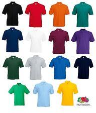 New Fruit Of The Loom Polo Shirt Plain Short Sleeve Mens Polo T Shirt T-Shirt