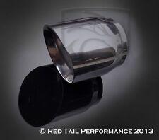 "SS Exhaust Muffler Tip 3"" OD Double Walled Forward Slash Cut 2.5"" Inlet 4"" long"
