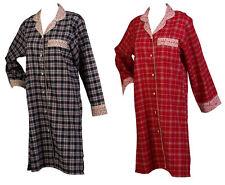 Ladies 100% Combed Cotton Tartan Check Nightshirt Button Up Nightie Flower Trim