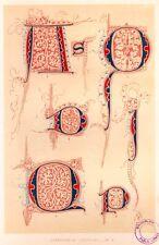 "Chromolithograph from ""Art of Illuminating -1860"" - CHRONICALS OF THOMAS, 1300'S"