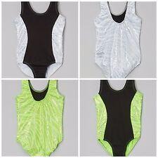 NEW Sparkle Color Foil Zebra Solid Black Dance Gymnastics Leotard Child Sizes