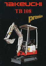 Takeuchi TB 108 Bagger Prospekt 2002 brochure digger excavator Baumaschinen