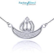 14k White Gold Diamond Crescent Moon Allah Necklace