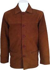 UNICORN Uomo Classico Cappotto Box - Giacca in Vera Pelle - Beige Nabuk #I7