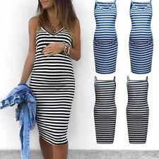 Maternity Sleeveless Striped V-Neck Sundress Pregnant Beach Mid-Calf Shirt Dress