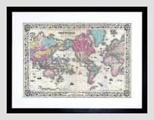 1852 Colton Mappa il mondo per la proiezione di Mercatore VINTAGE ART PRINT b12x2166