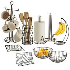 Black Iron Kitchen Roll Holder Utensil Rack 6 Cup Mug Tree Stand & Fruit Basket
