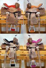 """Youth Child Premium Leather Western Pony Miniature Horse Saddle Tack (10"""" & 12"""")"""