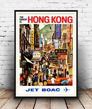 Hong kong B.O.A.C, vintage travel poster reproduction