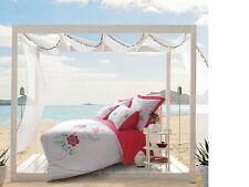 Paradise White Fuchsia Emb. 225TC Quilt Doona Cover Set Double Queen King Euro