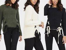 UK New Women Ladies Autumn Winter Shoe Lace Plain Knitted Jumper Top Knitwear