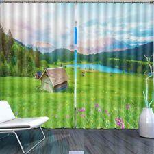 Grassland Hillside Roof 3D Curtain Blockout Photo Printing Curtains Drape Fabric