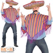 Mexicana Poncho + Sombrero Sombrero Para Hombre Fancy Dress Western Adultos Traje Traje
