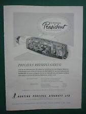 5/1957 PUB HUNTING PERCIVAL AIRCRAFT PRESIDENT ECORCHE MERCEDES GERMAN ADVERT