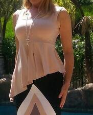 Maya Antonia-PLUS SIZE- Nude Beige Asymmetric Ruffle Peplum Top Sleeveless