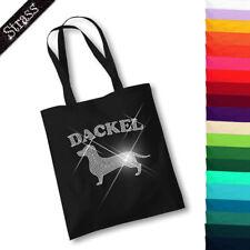 Borsa di juta sacchetto shopping borsa shopping bag borsa STRASS CANE BASSOTTO