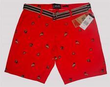 Raw Yarn PUG Dogs Wearing Caps ($$$) & Glasses Red Mens Shorts w/Belt $62 NWT