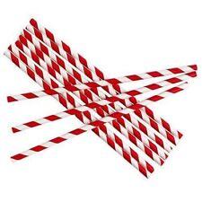 Retro Red & White Stripe Premium Biodegradable XL SIZE Paper Straws 210MM X 6MM